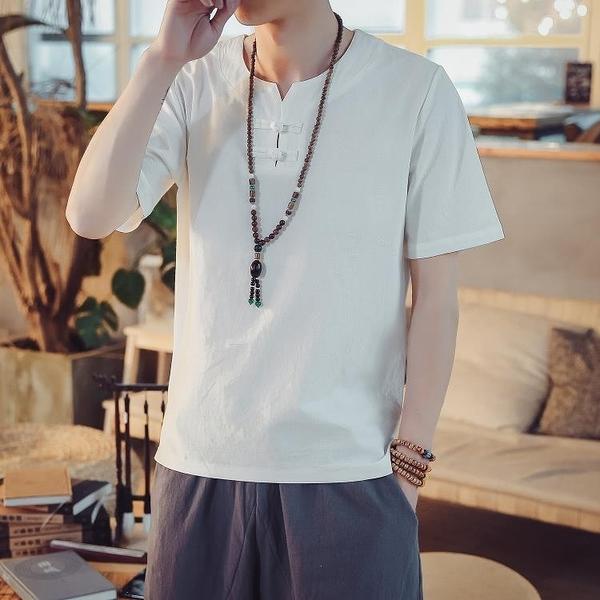 唐裝 夏季新款中國風棉麻短袖男青年盤扣V領T恤中式透氣亞麻唐裝男上衣 一木良品