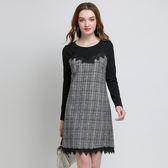 中大尺碼~假兩件式性感吊帶長袖洋裝(L~5XL)