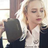 Maison de FLEUR ♡ 圓弧型麂皮化妝包/小包 - Maison de FLEUR