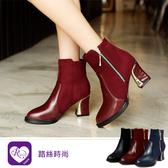 【快速出貨】韓系OL個性絨面拼接拉鍊設計高跟短靴/3色/35-43碼 (RX1044-672) iRurus 路絲時尚