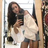 梨卡 - 初秋韓國甜美純白天使泡泡袖長袖一字領襯衫上衣B975