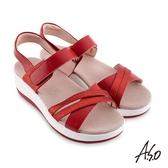 A.S.O 機能休閒 輕穩健康鞋金箔皮料條帶休閒涼鞋 桃粉紅