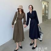 秋裝2020年新款法式復古V領長袖洋裝女氣質綁帶收腰中長款A字裙 雙十二全館免運