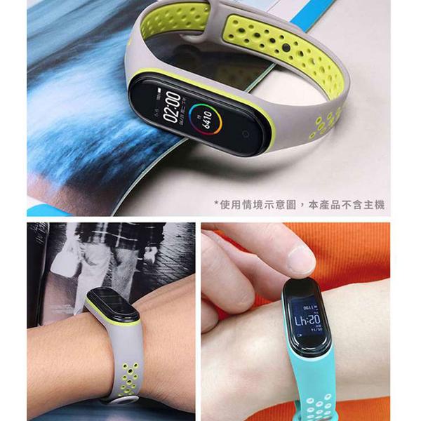 Adpe 小米5 撞色運動風 矽膠洞洞錶帶-綠白