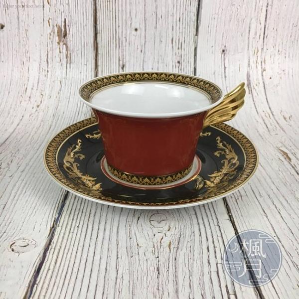 BRAND楓月 VERSACE 凡賽斯 紅色 巴洛克 雕花 金翅膀 短茶杯/黑色杯墊 茶具