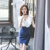 工廠直銷不退換!653#夏韓版新款女裝修身拼接荷葉邊V領不規則短裙時尚連身裙GT5525紅粉佳人