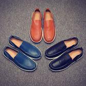 豆豆鞋 真皮休閒皮鞋 一腳蹬套腳懶人鞋【非凡上品】nx2341