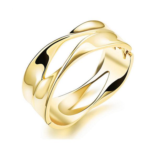 Mao 【5折超值價】韓版潮流曲線寬版18K金手環