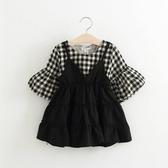 預購款-【巧貝彼】2017新款韓版假二件格子吊帶裙A3