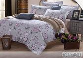 ☆單人薄床包升級雙人被套三件組☆100%精梳純棉3.5x6.2尺(105x186公分) 加高35CM《花語滿庭(灰)》