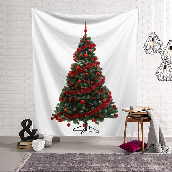 【半島良品】聖誕款_紅聖誕樹(沙灘巾 背景布 ins拍攝布景 掛畫 掛布)