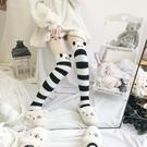 日系可愛卡通熊貓過膝襪珊瑚絨長筒襪子女秋冬保暖毛絨地板睡眠襪【創世紀生活館】
