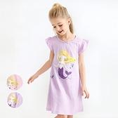 美人魚寬條紋小飛袖連身裙 洋裝 連衣裙 居家服 睡裙 睡衣 大童 童裝 現貨 橘魔法