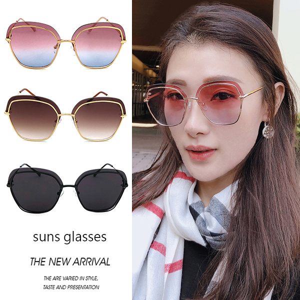 歐美方框墨鏡 光感雙圈幾何金屬太陽眼鏡 復古眼鏡 抗紫外線UV400