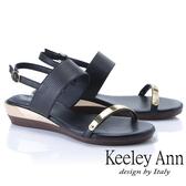 2019春夏_Keeley Ann簡約一字帶 金屬造型後環帶平底涼鞋(黑色)