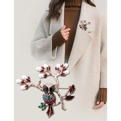 貓頭鷹珍珠大別針 花蕊珍珠胸針 動物造型胸花/2色-夢想家-1203