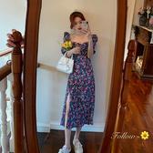 連身裙 夏季新款法式復古收腰泡泡袖碎花連衣裙女氣質中長款紫色裙子 星河光年