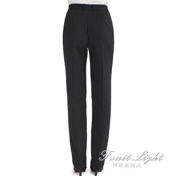 職業工作褲女直筒西褲黑色 果果輕時尚