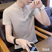 中國風棉麻上衣 個性V領T恤男短袖青年中式復古唐裝半袖潮流男裝 QX11531 『男神港灣』