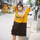連身裙-拼色韓版時尚休閒寬鬆女連衣裙2色73rx24[巴黎精品]