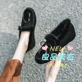 厚底鞋 厚底內增高皮豆豆鞋女冬季加絨單鞋2019新款韓版百搭網紅毛毛鞋 多色