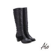 A.S.O 簡約風格 抓皺皮革長靴 黑色