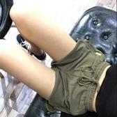 港風設計軍綠/黑日常舒適毛圈面料短褲寬鬆休閒熱褲【販衣小築】