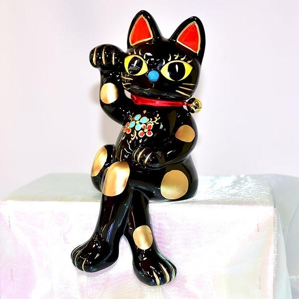 大眼招手 坐姿 幸運黑色招財貓 陶製釉彩 貯金箱 日本製 25cm