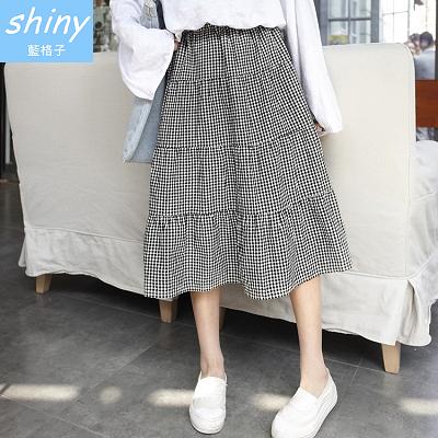 【V1661】shiny藍格子-極簡時尚.黑白格層次鬆緊蛋糕長裙
