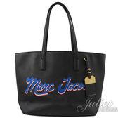 【新進品牌 獨家價】MARC JACOBS 馬克賈伯 手寫LOGO十字紋肩背托特包.黑
