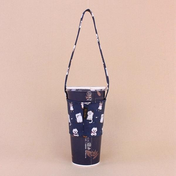 雨朵防水包 M436-012 中空一杯袋三合一(通用版)-深藍貓貓的聚會13295