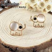 耳環 現貨 韓國 甜美 超可愛 QQ 大象 月光石 水鑽耳環 S91816 Danica 韓系飾品 韓國連線