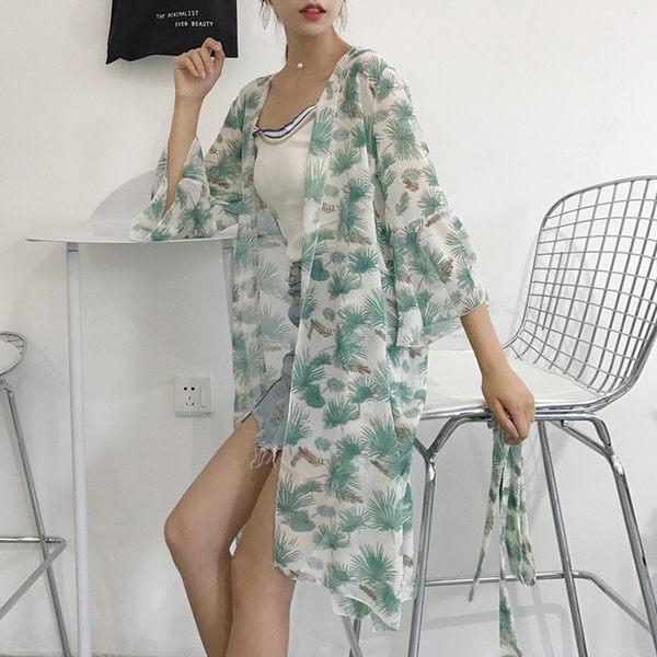 [超豐國際]夏季顯瘦雪紡樹葉花喇叭中袖度假防曬開衫中長款外套1入