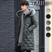 織帶飄帶口袋圓形壓紋保暖毛領連帽鋪棉長版外套‧五色‧加大尺碼【NTJM876】-TAIJI-