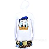 PINKO T-Shirt 白色水鑽亮片飾唐老鴨大頭短袖上衣 1520508-20