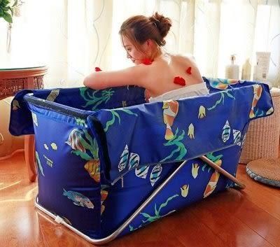 簡易折疊浴缸  免充氣沐浴桶 【藍星居家】
