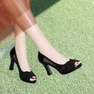 魚口鞋 天天大東涼鞋女套腳真皮粗跟高跟鞋魚口防水台羅馬鞋中空鞋女-Ballet朵朵