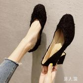 粗跟單鞋女韓版百搭方頭少女小清新高跟鞋潮sd1880『男人範』