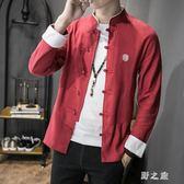 中大尺碼中山裝外套 秋季中國風唐裝民族棉麻盤扣中式上衣 nm11012【野之旅】