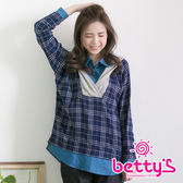 betty's貝蒂思 異材質拼接格紋連帽假三件式上衣(藍色)
