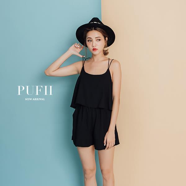 PUFII-連身褲 雙線交叉美背荷葉雪紡連身短褲 2色-0524 現+預 夏【CP14683】