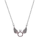 925純銀項鍊+鋯石吊墜-天使翅膀戒指造型女飾品2色74aq40【巴黎精品】