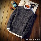 毛衣 男士圓領毛衣季潮流青少年針織衫學生男裝套頭外套 莫妮卡小屋