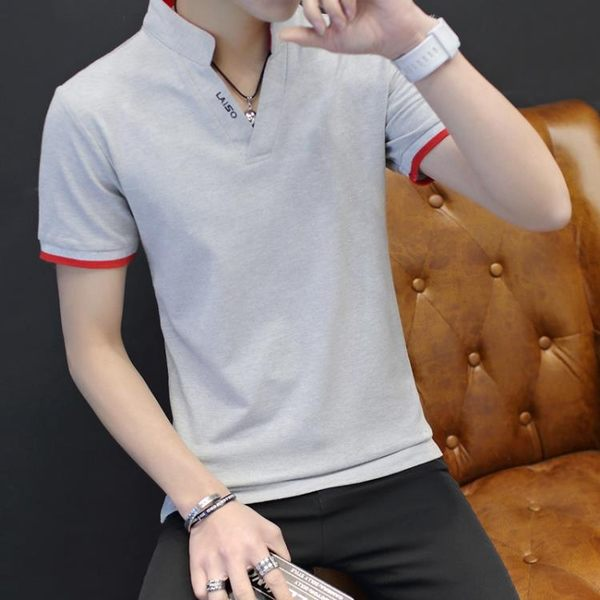 polo衫男士短袖t恤修身有立領polo衫正韓棉質體恤半袖上衣T恤 M-3XL【快速出貨八折搶購】