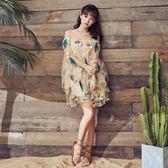 全館免運八折促銷-奈良刺繡短裙超仙沙灘裙海邊度假抹胸連衣裙網紗三亞旅遊裙子泰國