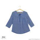 【INI】美感品味、直條圖騰舒適上衣.藍...