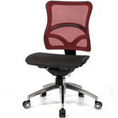 aaronation 愛倫國度 線控式辦公椅-二色可選黑網-鋁腳-無扶手-紅