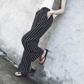 ?條紋闊腿褲女夏雪紡寬鬆薄款高腰休閒長褲春韓版顯瘦復古溫柔風 森活雜貨