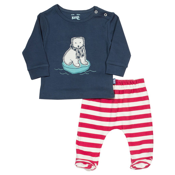 有機棉 / 套裝 Kite 有機棉長袖套裝2件組 - 深藍北極熊 BU014