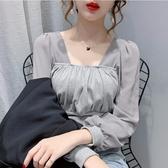 雪紡 秋裝襯衫女2020新款設計款拼接雪紡長袖修身褶皺設計短款顯瘦上衣-米蘭街頭